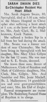 Sarah Swain obit, sister to Ida (Carpenter) Dial. - Newspapers.com