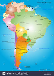 Vector Color Map Of South America Stock Photo 145480965 Alamy