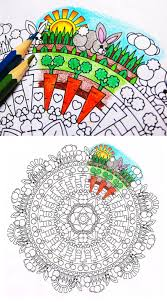 Mandala Coloring Page Bunny Clearing Printable Easter Etsy