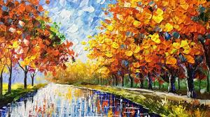 landscape autumn palette knife acrylic painting
