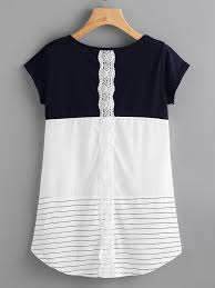 Panel Shirt Design Ladies Contrast Panel Lace Applique Striped Tee Shein Sheinside