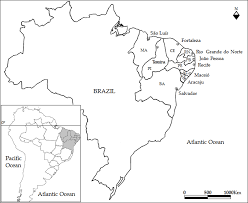 Map of the brazil showing northeast region and sites described in the text