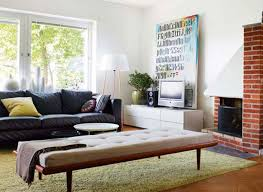 the brick living room furniture. Living Room. Black Fabric Sofa On Cream Fur Rug And Brown Brick Fireplace Connected By The Room Furniture R