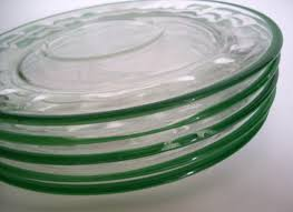 vintage glass luncheon or snack plates clear with green