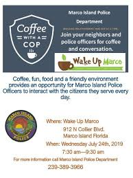 Coffee With A Cop Flyer Coffee With A Cop City Of Marco Island Florida