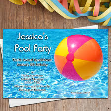 Personalised Swimming Pool Beautiful Birthday Pool Party Invitations ...