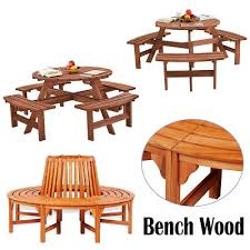 6 seater 8 seat wooden pub bench round picnic table furniture garden patio chair