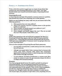 Informative Essays Examples Sample Informative Essay 6 Examples In Word Pdf