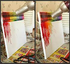 how to make rainbow melted crayon art