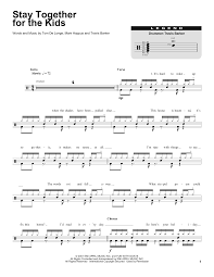 sheet music for kids stay together for the kids sheet music by blink 182 drums
