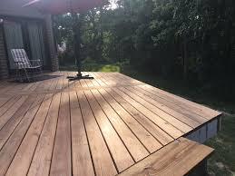 diy deck renovation pleted deck board installation june 2018 ac2 cedartone deck boards from menards deck is 26 5 x 12 5