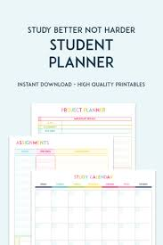 Planner Printables For Students Printable Student Planner Keeping Your Grades Up Has Never