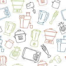 Kitchen Appliances On Credit Various Kitchen Appliances Hand Drawn House Appliances Seamless