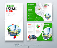Tri Fold Brochure Layout Business Tri Fold Brochure Design Green Orange Template For