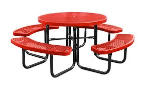 city series round picnic table red