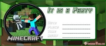 Minecraft Party Invitation Template Amartyasen Co