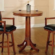 hilale park view round bar height pub table in medium brown oak