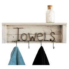 wood towel rack with hooks. Bathroom Towel Rack With Hooks And Shelf - Whitewash Wood A