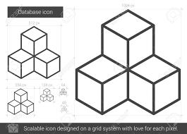 データベース ベクトル線のアイコンが白い背景で隔離インフォ グラフィックウェブサイトやアプリ