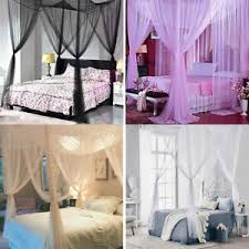 Details about 4 Corner Post Bed Canopy Cover Mosquito Net Full Queen King Size Outdoors Net