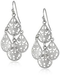 1928 jewelry filigree teardrop chandelier earrings