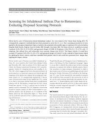 Pdf Screening For Inhalational Anthrax Due To Bioterrorism