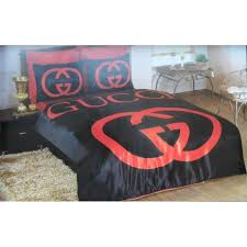gucci satin bedding set new hq black red classic king queen bedroom luxury box
