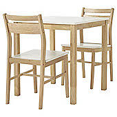 dining table with 2 chairs. hatten table and 2 chair set, oak-effect white dining with chairs