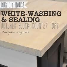 whitewashing and sealing a butcher block countertop by