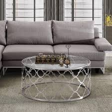 cozy florence round silver quatrefoil coffee table