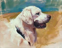patrick saunders fine arts dog portrait painting oil on canvas winnie