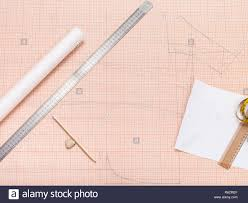 Tools For Creating Of Pattern On Graph Paper Stock Photo 227704583