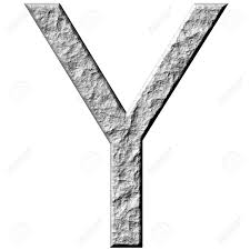 3d Stone Letter Y Isolated In White