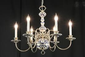 blue delft china pewter vintage chandelier