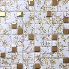 fanciful room wall tiles texture clear glass mixed golden mosaic