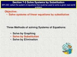 skip this loading slideshow in 5 seconds objective solve systems of linear equations by substitution powerpoint presentation