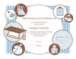 High School Diploma Certificate Fancy Design Templates Elementary School Diploma Certificate Template Award