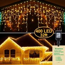 Knonew Led Icicle Lights 400 Leds 32ft 8 Modes Curtain Fairy Light With 75 Drops Clear Wire Led String Decor For