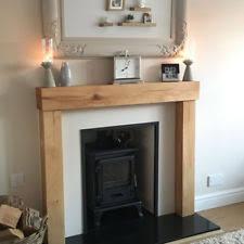 Oak Beam Fire Surround Wooden Fireplace Mantelpiece Upstands Log Burner  Mantle