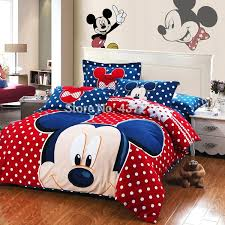 new mickey mouse polka dots red blue bedding set warm brushed cotton fabric bed sheet duvet cover comforter set 4 queen king blue duvet cover queen size