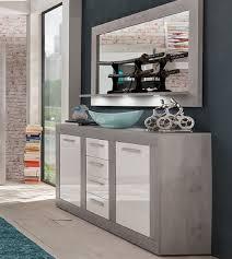 Sideboard Im Set Mit Wandspiegel Pure Hochglanz Weiß Und Grau Stone Design 170 Cm