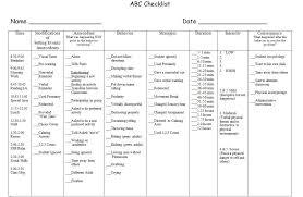 Abc Behaviour Chart Example Abc Checklist Example 2 Classroom Behavior Management