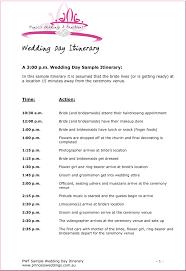 Wedding Ceremony Itinerary Bridal Parties Wedding Day