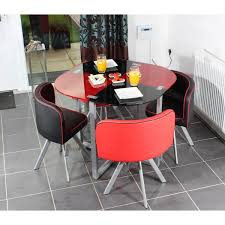 round red and black glossy dining table added by three black and red leather dining chairs on the floor