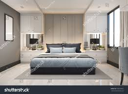 Beautiful 3d Rendering Modern Luxury Blue Bedroom With Marble Decor