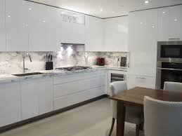 Custom Kitchen Design White High Gloss Handle Less Cabinetry With
