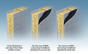 3 stud partitions with and without sbm5 sandwiched between plasterboard