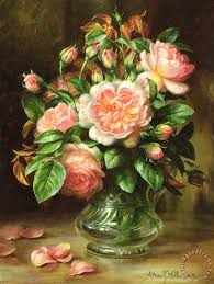 english elegance roses in a glass painting albert williams english elegance roses in a glass