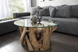 Table Basse Table Basse Ronde En Verre Et Bois Flotte