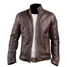 men s biker cafe racer motorcycle distressed brown vintage leather jacket 32ot